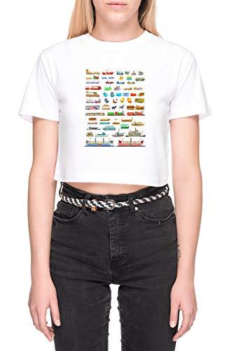 Wdw Rvs Weiß Bauchfreies Crop T-Shirt Damen Kurzarm White Crop T-Shirt Women's