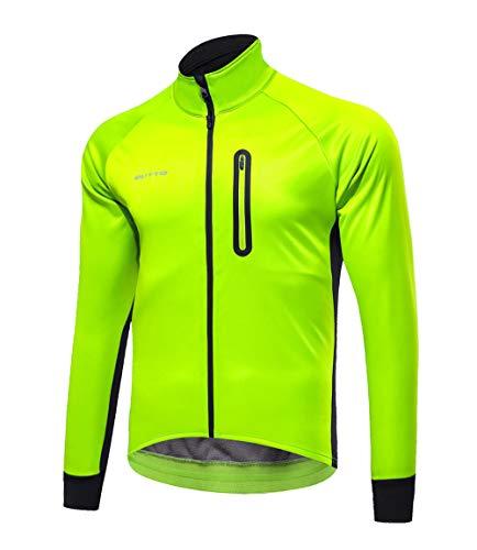 Hombres Ropa de Bicicleta Hombres Ciclismo Chaqueta a prueba de viento ligero y transpirable y cálida chaqueta de manga larga de bicicletas de montaña Estiramiento alto Agradable para la piel