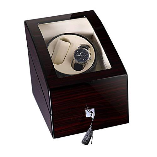 Caja de lujo de madera doble automática para reloj de lujo, 4 modos, carcasa de madera, pintura para piano [100% hecha a mano] para 2 relojes de pulsera (color: vino tinto, tamaño: 19 x 19 x 19 cm)