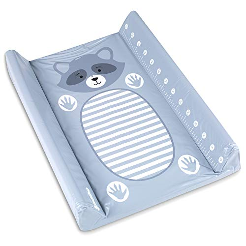 Cambiador plastificado Colchón para bebé - lavable Estera, Colchones de pañales, impermeable y antideslizante, Almohadilla GRIS con mapache 50 x 70 cm