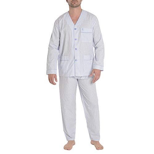 El Búho Nocturno Herren Karierterer Zweiteiliger Pyjama mit Langen Ärmeln und geknöpfte Jacke Schlafanzug Klassische Nachtwäsche M Hellblau Gelb