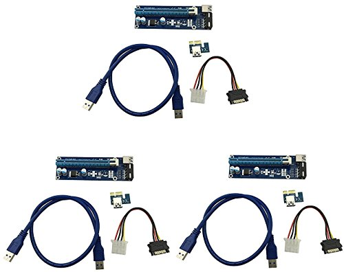 longxi 3Pack Molex 4pines Powered PCI-E PCI Express Riser–ver 006S–1x A 16x...