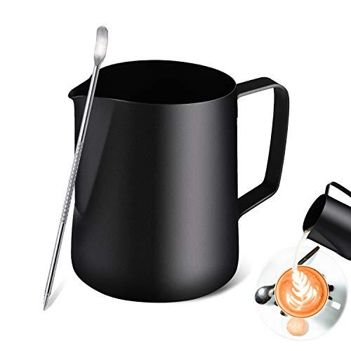 TechKen Milchkännchen, Milchkanne Edelstahl 350ml/600ml(12/20 FL.oz) Milchaufschäumer, Milch Pitcher mit Barista Stift/Latte Art Pen, Milchkrug für Cappuccino (Schwarz 350ml)