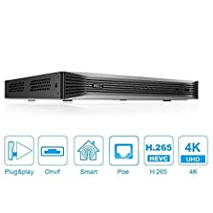 8MP/4K NETWORK VIDEO RECORDER: WGCC 16CH POE NVR supports hard drives(not included) up to 10 Terabytes, while featuring 16CH recording, playback & live view with 8MP/4K(3840*2160) resolution. Support Ultra 265/H.265/H.264 video formats. SMART MOTION ...
