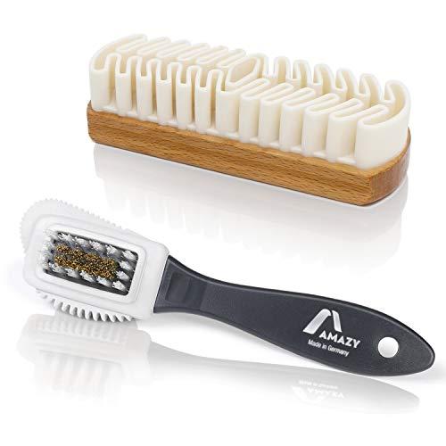 Amazy Cepillo Gamuza Perfecto para Zapatos – Juego de cepillos para limpiar ante, gamuza, nobuk o terciopelo