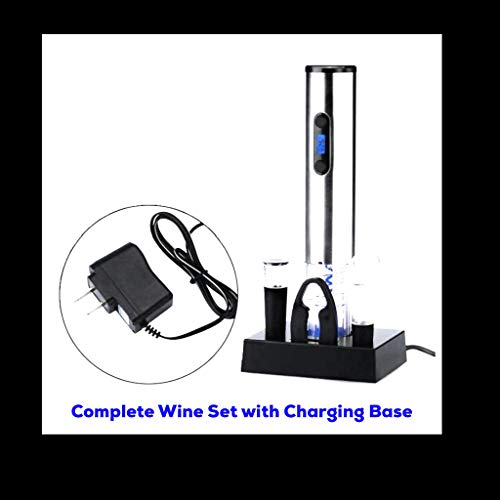 5 Piece Electric Wine Opener Gift Set w/ Charging Base (Stainless Steel Exterior) One Touch Wine Bottle Opener - w/ 4 Rechargeable Batteries - Gift Box Included. Makes A Great Personal or Business Gift! - Capt. Bill's Treasures Private Label
