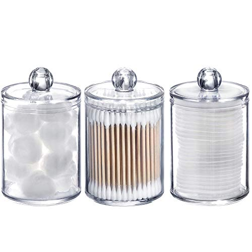 Tbestmax 10 Oz Plastic Cotton Swab Ball Pad Holder, Qtip Jar Clear Makeup Organizer, Bathroom Containers Dispenser 3 Pack
