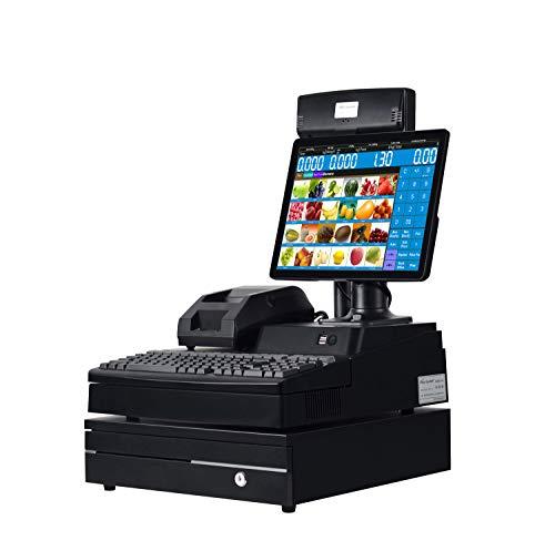 Tout en un système de point de vente au détail de caisse enregistreuse comprend un écran PC de 14 pouces,Imprimante thermique de reçu de 58MM,Tiroir-caisse
