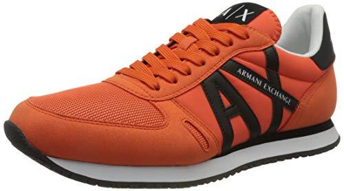 Armani Exchange Rio Retro Running, Zapatillas Hombre, Naranja y Negro, 43 EU