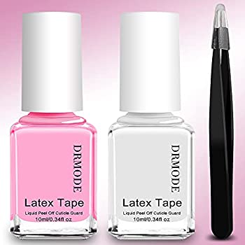 Liquid Latex for Nails - 2PCS Upgrade Fast Drying Peel Off Nail Polish Barrier Cuticle Guard Stamping Skin Protector Latex Tape with Bonus Tweezers for Various Nail Art by DR.MODE
