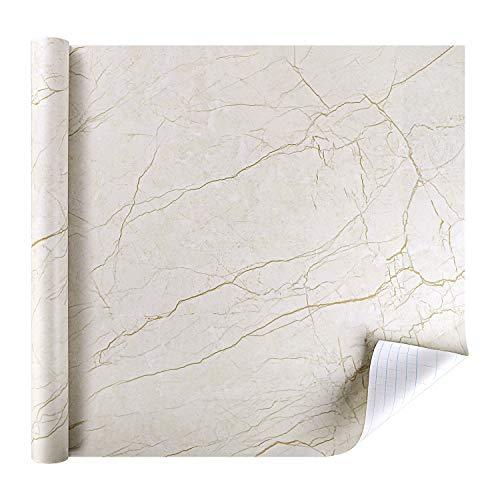 rabbitgoo Marmor Folie Klebefolie Selbstklebende Möbelfolie PVC Vinyl Aufkleber DIY Tapete Dekofolie für Möbel Küche Küchenschrank Wasserfest Feuchtigkeitsbeständig Anti-Öl 44.5 x 200 cm