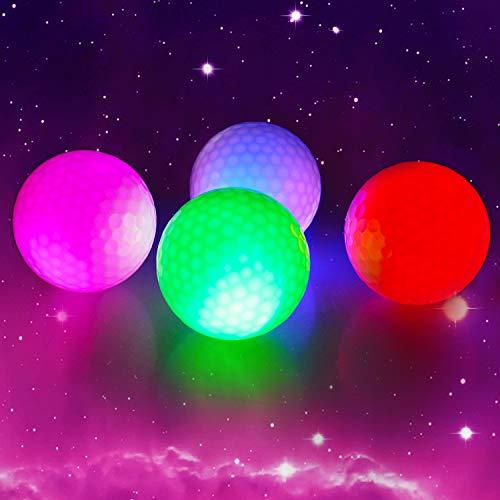 Crestgolf LED Glow Golfbälle für die Nacht Eingebaute 4 LED-Leuchten Golfbälle Sehr hell und perfekt für Golf Long Distance-4-teilig
