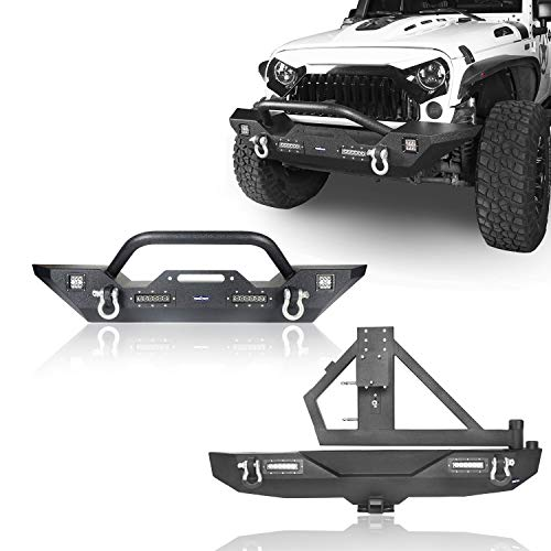 Hooke Road Wrangler JK Rear Bumper with Tire Carrier and Front Bumper Combo Compatible with Jeep Wrangler JK & Unlimited 2007-2018 2/4 Doors