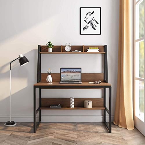 ROGUOO Computer Desk with Hutch and Shelf -47.2 inch Writing Study Table with Bookshelf