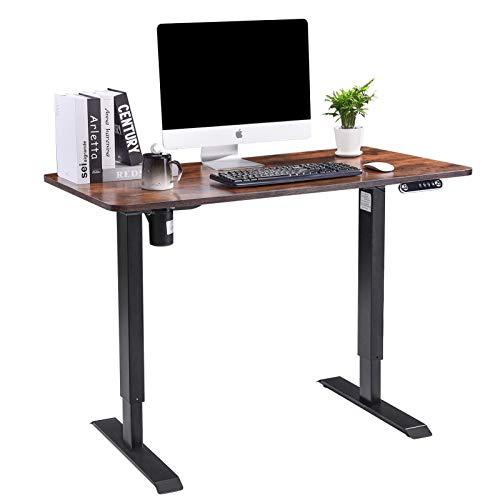 Juhuitong Escritorio eléctrico regulable en altura, 140 × 60 cm, tablero industrial marrón, ergonómico, altura ajustable, mesa para oficina en casa