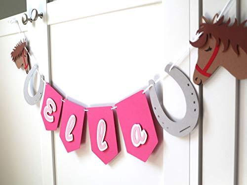 Personalisierte Geburtstagsgirlande Pferde - Pferde Geburtstag - Pferde Party - Geburtstagsdeko Mädchen