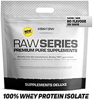 Proteína Aislada de Suero Lácteo (100% Whey Protein Isolate) de HSN Raw | Rica en BCAAs y Glutamina | Apto para Vegetarianos, Sin Soja, Sabor Neutro, 4Kg