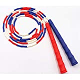 DINAER La Cuerda de Salto de bambú para Adultos, la educación Primaria y la Escuela Secundaria, los Patrones Deportivos cumplen con la Cuerda de Salto de bambú estándar Rojo Azul