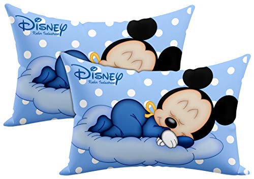 """Kuber Industries Disney Printed Toddler Kids Pillow Silky Soft Microfiber Polyester, Perfect for Travel,Toddler Cot,12""""x18"""" (Sky Blue)-Pack of 2-KUBMART15816, Standard"""