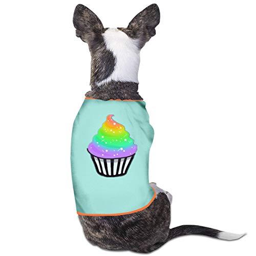 Jiaojiaozhe Leuke Regenboog Cupcake Huisdier Service Huisdier Kleding Grappige Hond Kat Kostuum Tshirt Zwart, M, Blauw