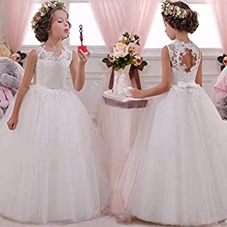 BestGift Girls participate first feast Lace white Pink Elegant Princess Girls Dress For Wedding Flower Girl Dresses Baby Children Clothes 4-14 Year