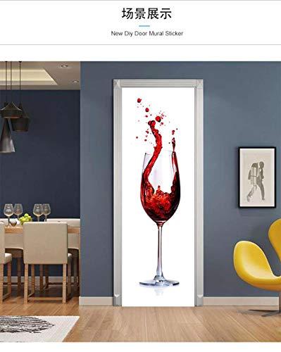 LeiDyWer Etiqueta De La Puerta Pegatinas De Puerta De Copa De Vino Tridimensional 3D Autoadhesivo Papel Pintado De PVC Cartel De Simulación Decorativo DIY Mural-85cm(W)*215cm(H)
