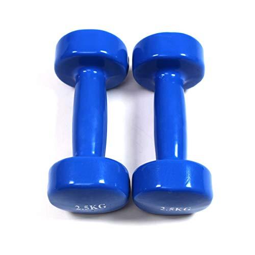 FARAM, Manubri in Vinile Ricoperti, Home Fitness (Blu, 5KG)