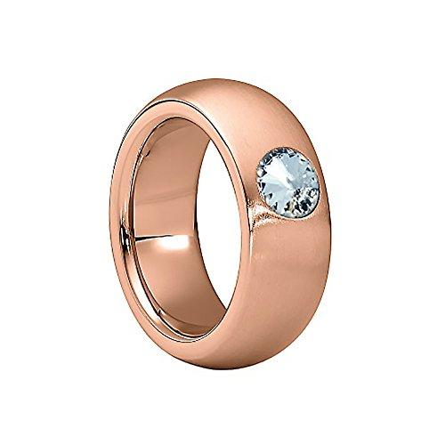 Heideman Ring Damen Coma 8 aus Edelstahl Rosegold farbend matt Damenring für Frauen mit Swarovski Stein Kristall Weiss im Fantasie Edelsteinschliff 6mm