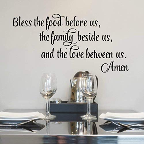"""Bless The Food Wall Decal, 30""""X 14"""" Black, Food Blessing Wall Decor, Kitchen Bible Verse Wall Art"""