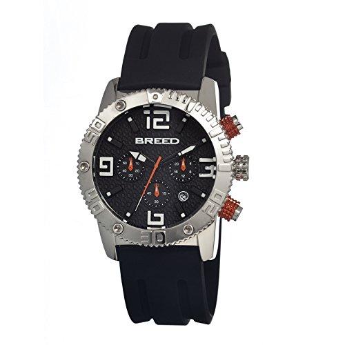 Breed brd1104–Montre pour Hommes, Bracelet en Silicone Couleur Noir