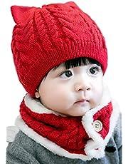 Cute Wink あったか かわいい 猫耳 ニット帽 ネックウォーマー 2点セット 赤ちゃん ニット帽子 ベビー キッズ 子供