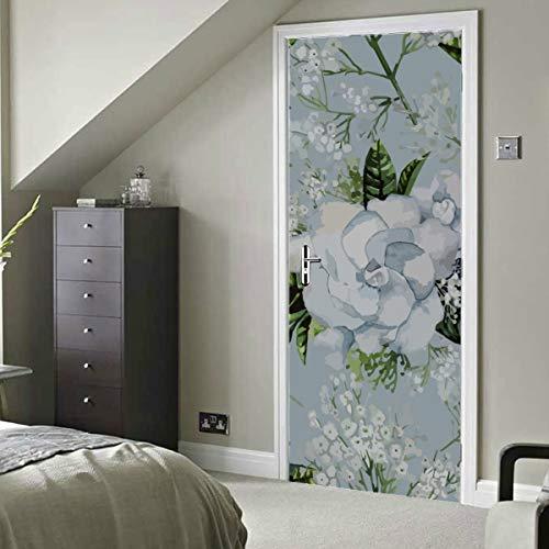 White Pure Natural Flower Gardenia Selbstklebendes Vinyl Abnehmbares Abziehbild für Tür Badezimmertür Aufkleber 77 x 200 cm (30 x 79 Zoll) 2 Stück