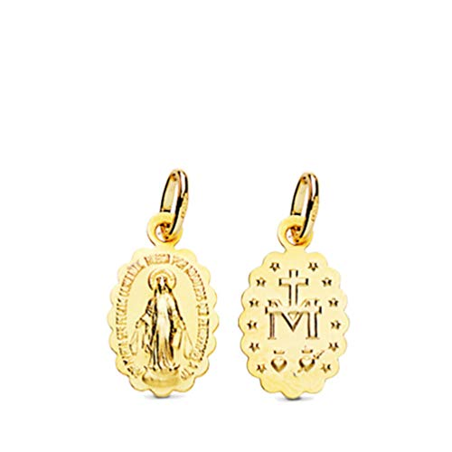 P.MORA Medalla de Oro Virgen DE LA MILAGROSA, Oro Amarillo 9Kilates, 375 milesimas, Tamaño 15X9mm Longitud