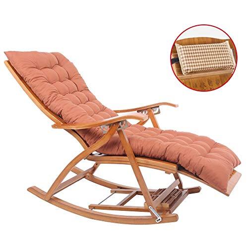 HAIYU- Verstelbare Opvouwbare Ligstoel Houten Schommelstoel met Uitgebreide Voetenbank en Massage Board Bamboe Zonnestoelen voor buiten, Uitneembare Hoofdsteun