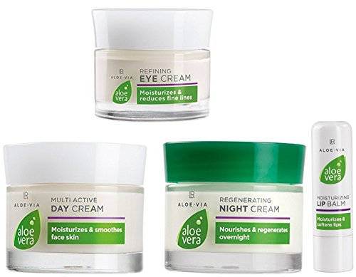 1a LR 20130 Aloe Vera Face Care Set of 4 - Day Cream 50 ml + Night Cream 50 ml + Eye Cream 15 ml + Lip Care 4.8 g