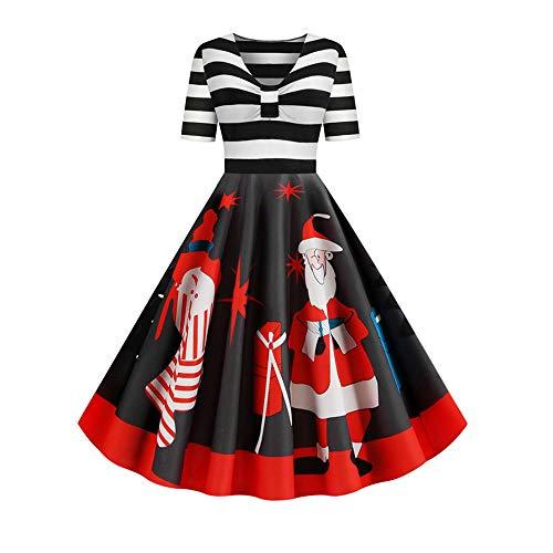 Rosegal Vestido de manga corta para mujer, diseño de Papá Noel, estilo vintage, talla grande, estampado navideño