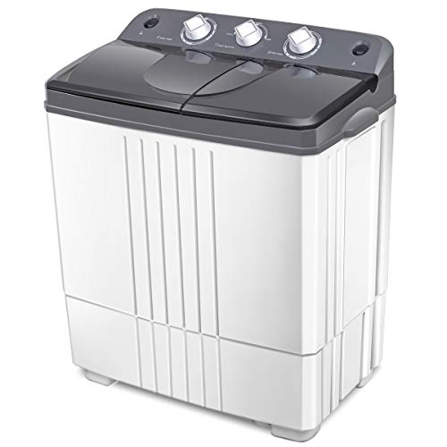 COSTWAY Washing Machine, Twin Tub 20Lbs Capacity, Washer(12Lbs)&Spinner(8Lbs), Portable Compact Laundry Machines Durable Design Energy Saving, Rotary Controller and Washer Spin Dryer(Grey + White)