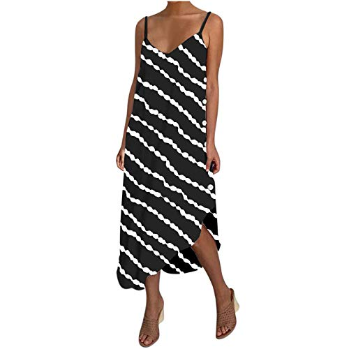 Padaleks Womens Elegant V Neck Sleeveless Sexy Backless Dress Summer Spaghetti Strap Loose Beach Party Club Dresses