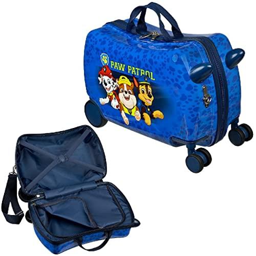Trolley per bambini da indossare e tirare, trolley rigido da seduto, quattro ruote a 360 gradi, due maniglie e tracolla, Blu, Valigia