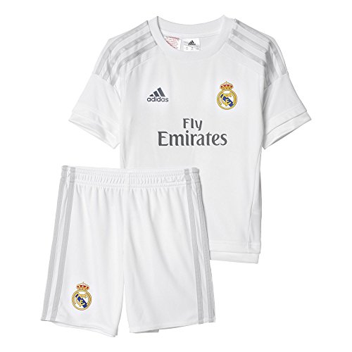 adidas 1ª Equipación Real Madrid CF Mini - Conjunto, Color Blanco/Gris, Talla 116