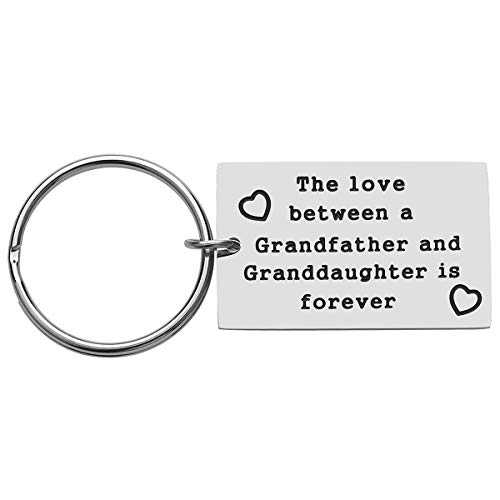 Best Grandpa Gift from Granddaughter for Father's Day, Birthday Gifts for Grandpa, The Love between A Grandfather and Granddaughter Is Forever Keychain