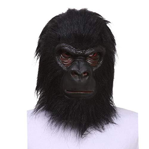 JNKDSGF Horror maskerHalloween Latex Zwart Gorilla Masker Volwassen Volledig Gezicht Grappig Dierenmasker Latex Halloween Party Cosplay Kostuum