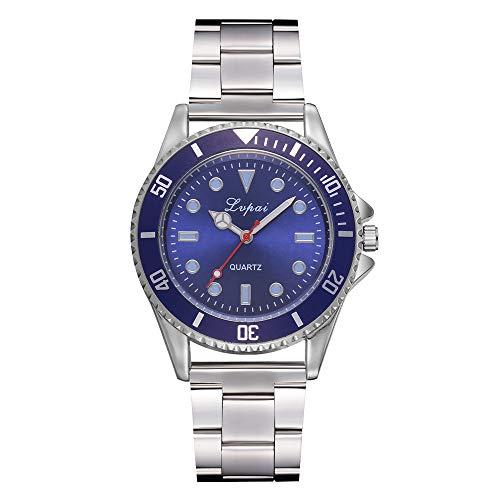 Keepwin Männer Edelstahl Band Bügel Armbanduhr, Zufälliger Quarz Analoger Runder Fall Geschäfts Uhr (Blau)