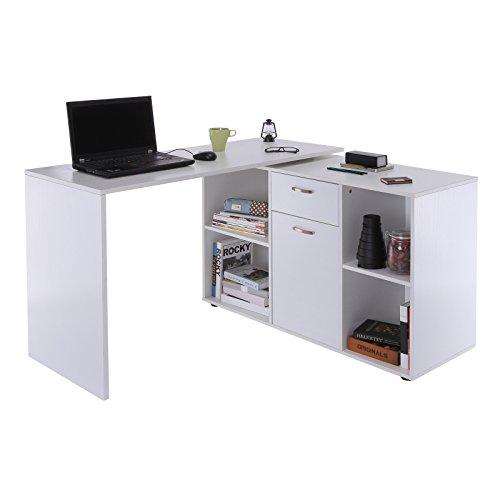 HOMCOM Eckschreibtisch Computertisch Bürotisch Winkelschreibtisch Regal L-Form 120 x 115 x 76 cm, I-Form 191 x 50 x 76 cm, Weiß, MDF+Metall