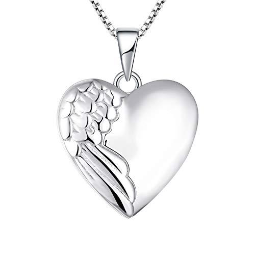 YL Collana con medaglione a cuore di ali di angelo Collana con ciondolo con foto di foto in argento 925 per mamma donna, catena 45 + 3 cm