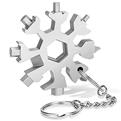 DOOGAXOO 18-in-1 Snowflake Multi Tool,Function Stainless Steel Bottle Opener/Wrench, Flat Cross Screwdriver Kit Snowflake, Outdoor Durable and Portable?Great Gift for Mens (Silver)