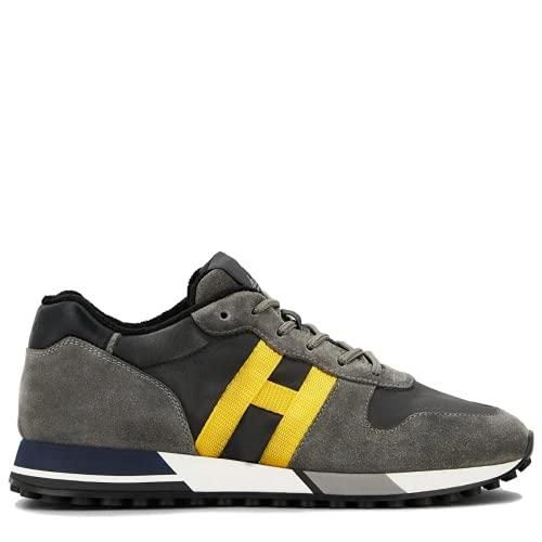 Hogan Zapatillas de hombre H383 HXM3830AN51QDY938R Retro Running Sneakers Deportivas Gimnasia de piel ante gris amarillo Cómodas Calzado Casual Tiempo libre Comfort Luxury Fashion, gris, 40 EU