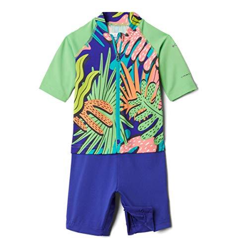 Columbia Youth Sandy Shores Sunguard Suit, Sun Protection, Moisture Wicking, Green Boa Tropic Shadows/Green Boa, 3T