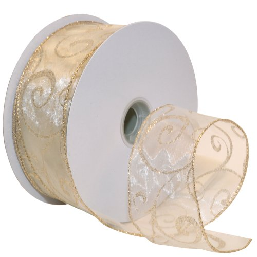 Morex Ribbon Swirl Wired Sheer Glitter Ribbon, 2-1/2-Inch by 50-Yard Spool, Ivory/Gold