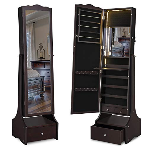 Cheval Full Length Mirror with Jewelry Armoire and Makeup Tray